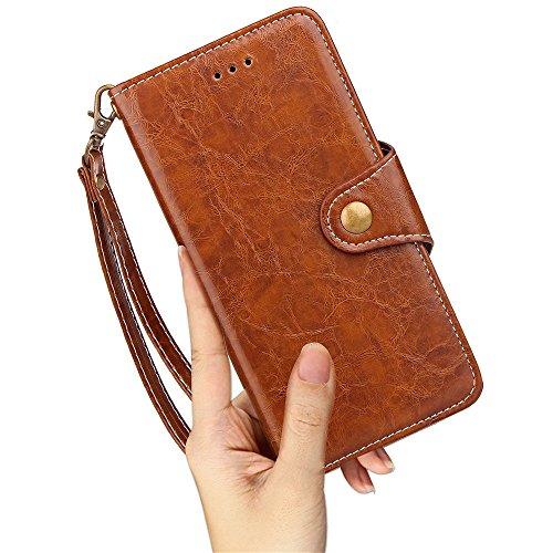 SRY-Bolsa para teléfono móvil Caja de cuero de la PU de la PU de la prima con la conveniente tarjeta y las ranuras del efectivo y el acollador y Kickstand para el iPhone 8 ( Color : Blue ) Brown