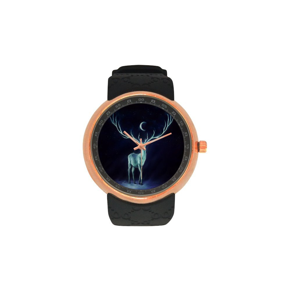 Novelty Gift Deer Night Moon Galaxy Men's Rose Gold Plated Resin Strap Watch