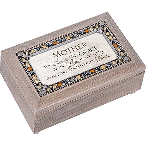 Cottage Garden Mother Beauty Grace and Love Brushed Pewter Jewelry Music Box Plays You Light Up My Life