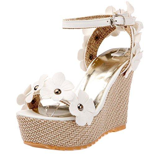 COOLCEPT Damen Mode Knochelriemchen Sandalen Open Toe Slingback Keilabsatz Schuhe Mit Blume White