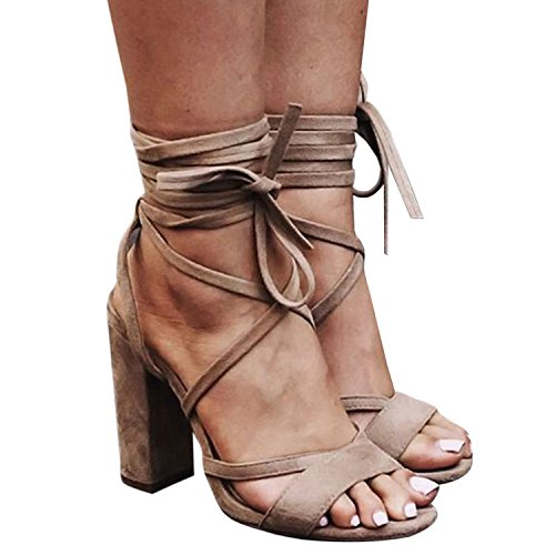 Bbalizko Lace Shoes up High Heeled Faux Strappy Sandals Suede Womens Brown wxBrzw