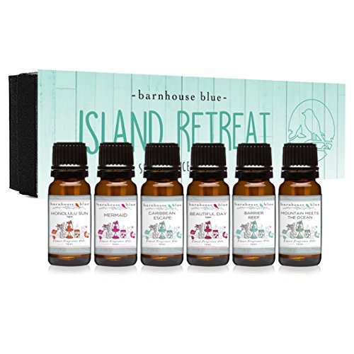 Island Retreat Gift Set of 6 Premium Fragrance Oils - Barrier Reef, Mountain Meets The Ocean, Beautiful Day, Caribbean Escape, Honolulu Sun, Mermaid - Barnhouse Blue ()