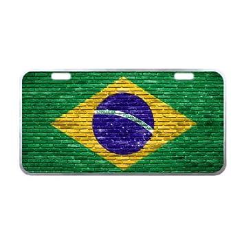 Mejor diseño de bandera de Brasil en la pared de ladrillos de Metal placa de licencia para coche - 11,8 x 6.1 Funda: Amazon.es: Coche y moto