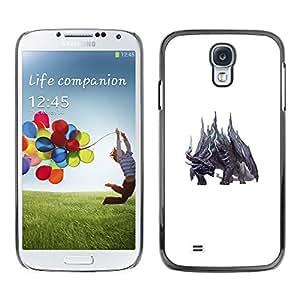 Shell-Star Arte & diseño plástico duro Fundas Cover Cubre Hard Case Cover para SAMSUNG Galaxy S4 IV / i9500 / i9515 / i9505G / SGH-i337 ( White Dragon Fairytale Monster Black )