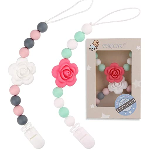 Pacifier Clip TYRY.HU Holder Smooth Beech Wooden Handmade for Baby Boys and Girls Universal Perfect Length Bendable Stainless Steel Paci Clip Teether Soothie Relief Sleeping