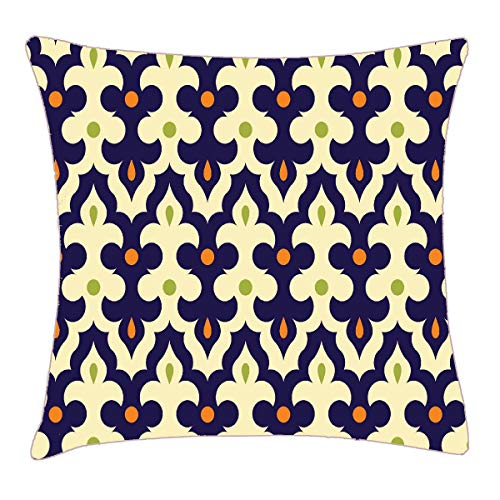 (HFYZT Damask Paisley Arabesque Wallpaper Pattern Throw Pillow Cover 18x18 Inch Two Sides Design Printed Pillowcase)
