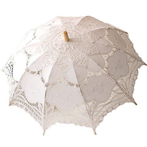StarSide White Beige Parasol Wedding Lace Umbrella For Sale