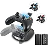 Megadream Xbox One Controller Charger, Dual USB Charging Station Dock with 2 Rechargeable Battery 600mAH Packs & LED Indicator Light for Microsoft Xbox One / S / Elite / X Controller - Black