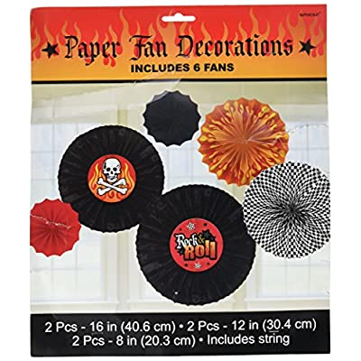 amscan Rock On Heavy Metal Themed Party Printed Paper Fan Assortment Decoration: Toys & Games