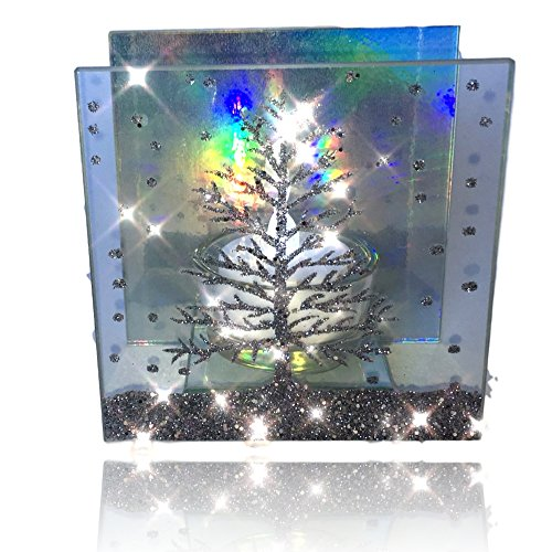 BANBERRY DESIGNS Christmas Candle - Glass Candleholder with a Glittery Xmas Tree Design - Aurora Borealis Reflected in Background - LED Tealight ()