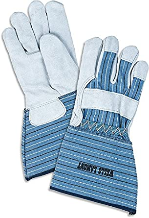 Wells Lamont White Mule Leather Gloves, Large with Gauntlet Cuff