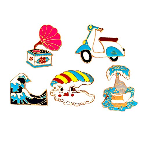 - WINZIK Lapel Pins Set Novelty Cute Cartoon Brooch Badges for Children Adults Clothes Backpacks Decor (Gramophone Motorcycle Shell Pins Set of 5)
