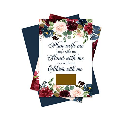 - Inked Floral Scratch Off Bridesmaid Cards and Navy Envelopes | Set of 8 | Wedding Attendant Proposals