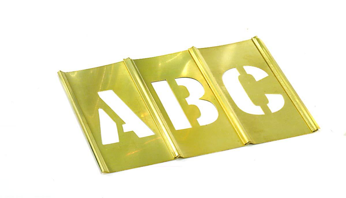 CH Hanson 10035 33 Piece 5'' Brass Letter Interlocking Stencil Set