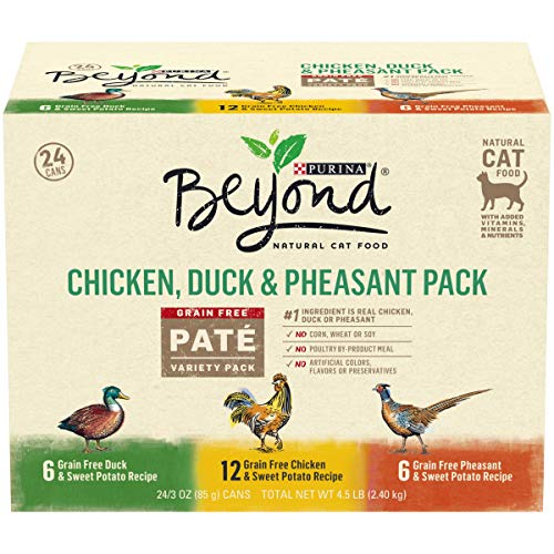 Purina Beyond Grain Free, Natural Pate Wet Cat Food, Chicken, Duck & Pheasant Recipe Variety Pack – (24) 3 oz. Cans