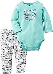 Carter\'s Baby Girls Bodysuit Pant Sets, Mint, 18 Months