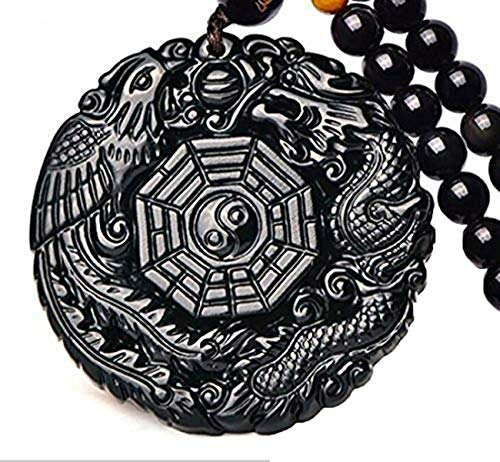c1lint7785631 Natural Obsidian Dragon Phoenix The Eight Trigrams Pendant Amulet Peace Mascot - Eight Pendant Necklace