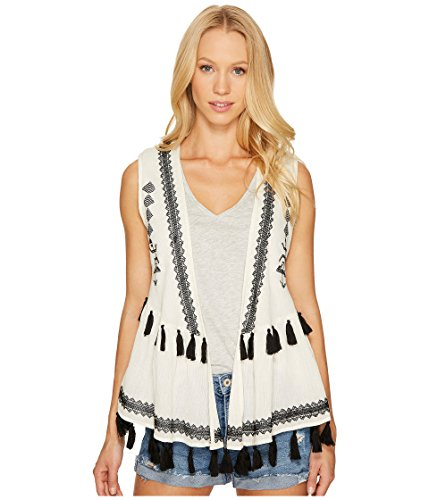- Steve Madden Women's Embroidered Cotton Peplum Vest, black, One Size