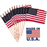 DAILY DEALS ONLINE Small Handheld Spearhead American Flags -4 x 6 inch. Stick Flags with SpearTop Great for Patriotic Decorations or Celebrations Set of 12