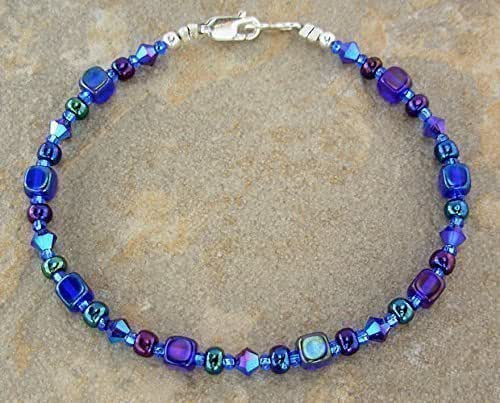 Iris blue anklet in small to plus sizes handmade for Plus size jewelry bracelets