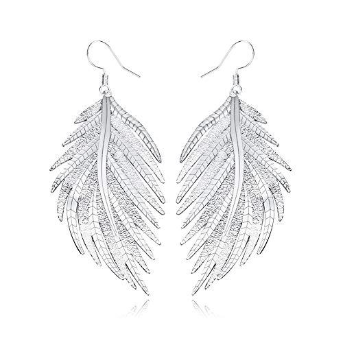 (Palm Leaves Stainless Steel Long Leaf Earrings Dangle Drop Silver Boho Earrings for Women(Palm Leaf))