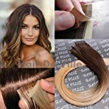 Cheap 10 Pieces 20″ inches Balyage Ombre Two Tone Tape In Skin weft Human Hair Extensions Color 4/27 Brown Mix Strawberry Blonde