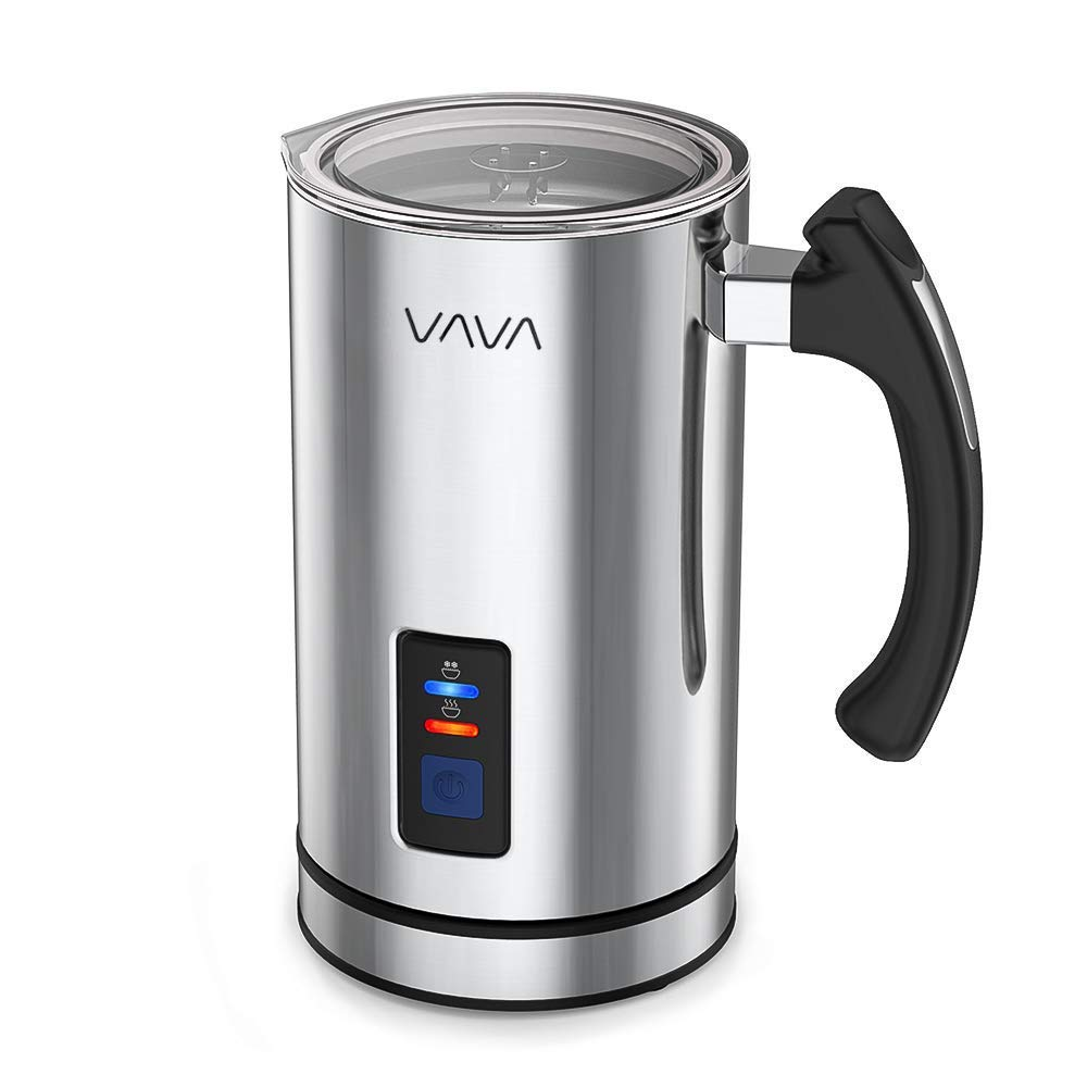 VAVA VA-EB008 Frother Liquid Heater Functionality, Stainless Steel Electric Milk Steamer for Latte, Cappuccino, Hot Chocolate (FDA, 250ml, Silver