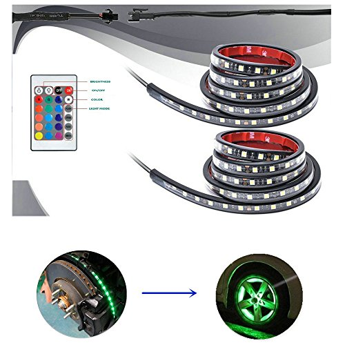 4Pcs Car LED Underglow RGB LED atmosphere Light Kit Strips Multi-Color Accent Glow Neon Lights with Wireless Remote Controller for Motorcycle and - Color Multi Rims