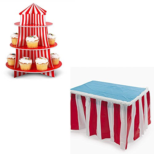 Fun Express Big Top Circus Cupcake Holder and Red White Striped Table Cover Skirt Bundle by TCS Party Bundles