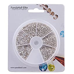PandaHall Elite 1 Box Silver Brass Tube Crimp Beads Sets in 3 Sizes for Jewelry Making