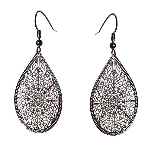 Filigree Bridal Earrings - KIVN Fashion Jewelry BOHO Smooth Dangle Drop Filigree Womens Girls Bridal Wedding Earrings (Black Rhodium)