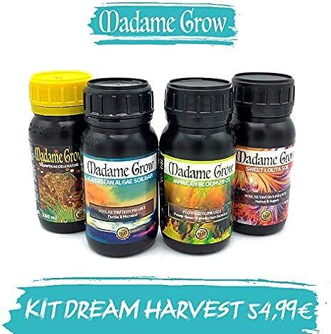 MADAME GROW / Fertilizantes Orgánicos para Marihuana o Cannabis/Obtén una Cosecha de ensueño/Kit Dream Harvest/Interior y Exterior / 4X 250 ml/Ahorra sin descuidar a tú 420