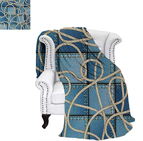 - Velvet Plush Throw Blanket Various Patches of Denim in Sea with Sailor Knot Rope on Foreground Image Art Print Throw Blanket 50
