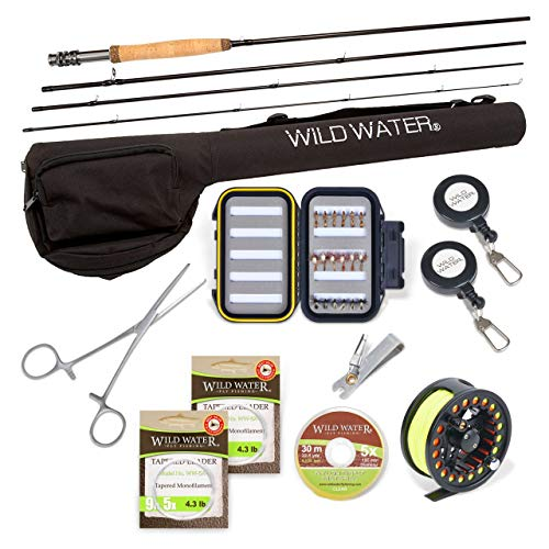 Wild Water Fly Fishing Rod and Reel Combo, Deluxe 4 Piece Fly Rod 5/6 9' Complete Starter Package