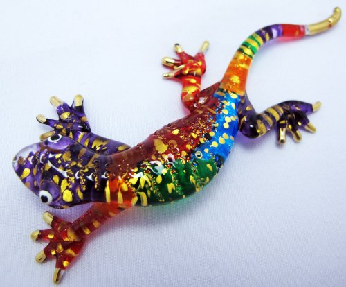 BEAUTIFUL ART COLOR HAND BLOWN GLASS GECKO LIZARD,DECORATION LENGTH 4.3 INCHS ()
