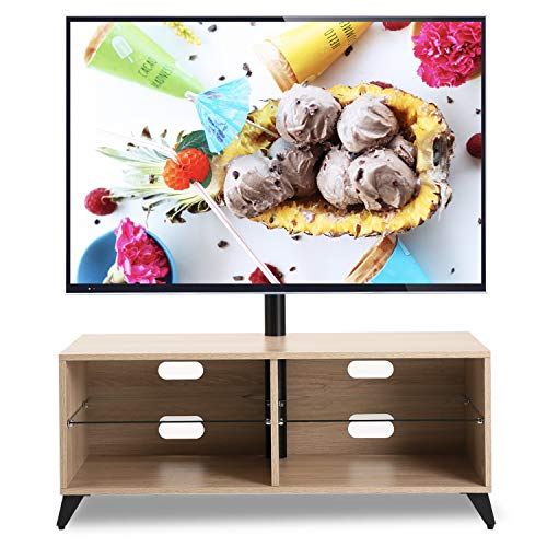 TAVR Wood Corner TV Stand Storage Console with Swivel Mount Height Adjustable TV Entertainment Center for 32 42 50 55 60 65 inch Plasma Flat or Curved Screen TV Shelf Storage Cabinet,Oak,TW4001 ()
