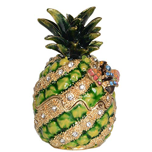 Pineapple with Bumble Bee Crystals Bejeweled Trinket Box Fruit Collectible Creative Gifts Necklace Ring Holder