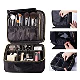 ROWNYEON Makeup Travel Bag Professional Cosmetic Makeup Organizer Case Makeup Train Case Makeup Artist Bag Portable Cosmetic Bag Gift for Women with EVA Adjustable Dividers Small Black