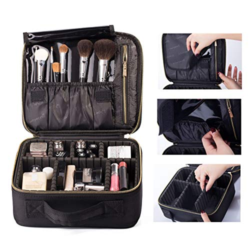 ROWNYEON Makeup Travel Bag Professional Cosmetic Makeup Organizer Case Makeup Train Case Makeup Artist Bag Portable Cosmetic Brush Storage Bag Gift for Women with EVA Adjustable Dividers Small Black