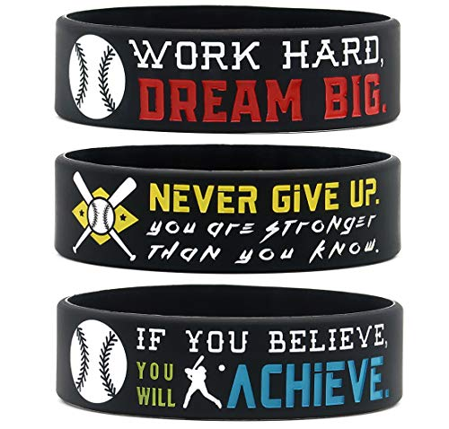 (6-Pack) Motivational Baseball Wristbands with Sports Quotes - Baseball Gifts, Jewelry Accessories for Baseball Players, Team Awards and Party Favors - Unisex for Men Women Youth Teen Girls Boys