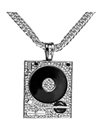 Jenhianeck Mens Hip Hop DJ Stainless Steel Crystal Phonograph Tag Pendant Necklace With Chain