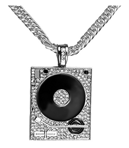 Xusamss Hip Hop DJ Stainless Steel Crystal Phonograph Tag Pendant Necklace with Chain by Xusamss