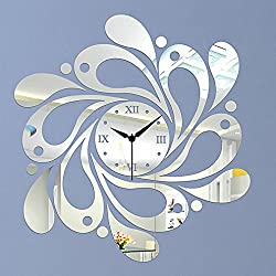 DIY Wall Clock Made of Acrylic Material, Dewdrops Asymmetric, Looks Like Mirror, Modern Design, for Home Living Room Bedroom Kitchen Baby Child Novelty Luxury Crystal Wall Silent Watch Extra Large, New, Silver
