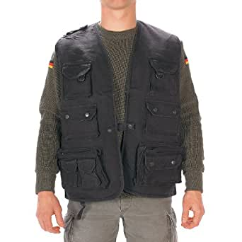 Mil tec moleskin fishing vest black clothing for Fishing vest amazon