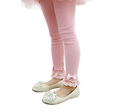 d42441534e90a Baby Girls Spring Autumn Trousers,Solid Color Legging With Lace Bowknot  Flower Girls Toddler Baby Girl Kids Cotton Tights Legging Infant Toddler  Pants: ...