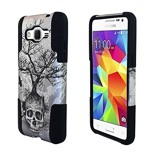 For AT&T Samsung Go Prime / Galaxy Grand Prime LTE G530 /ITUFFY 3items: Screen Film+Stylus Pen+Dual Layer Impact Resistance Plastic Cover Soft Rubber KickStand Hybrid Case (Silver Grey Skull Tree)