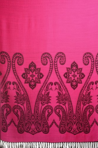 Large Paisley On Magenta Pink Pashmina Feel With Tassels - Rose ?charpe Taille Unique - 70cm x 180cm