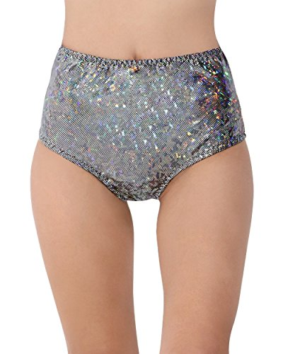 [iHeartRaves Electro High Waisted Booty Shorts (M/L, Hologram Black)] (Black Full Cut Robe Costumes)