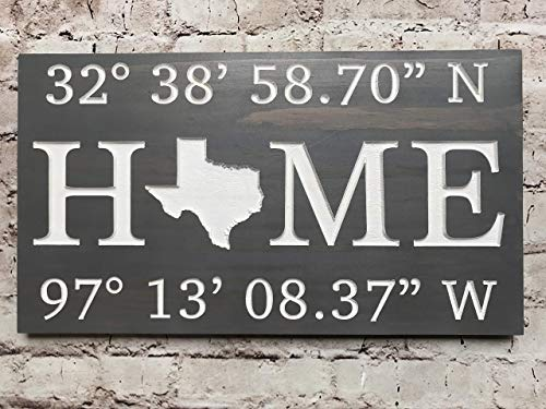 Custom Latitude/Longitude Sign - Realtor Closing Gift - Personalized GPS Coordinates - Housewarming New Home Gift - First Home Present - Birthday Present - Anniversary Gift - Wedding Gift - Family ()