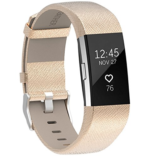 Henoda Replacement Bands Compatible with Fitbit Charge 2, Classic Genuine Leather Charge 2 Band Fitness Wristband for Women Men Small Large Gold